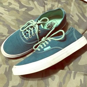 Vans canvas lace up teal green sneakers, s.7.5 men